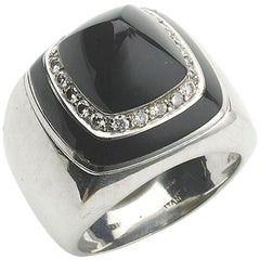 Onyx and Diamond White Gold Dress Ring