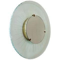 Italian Sun Illuminated Glass and Brass Mirror