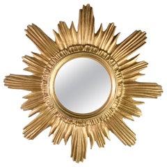 Italian Sunburst Starburst Mirror Gilded Plastic, circa 1970s, Round Wall Mirror