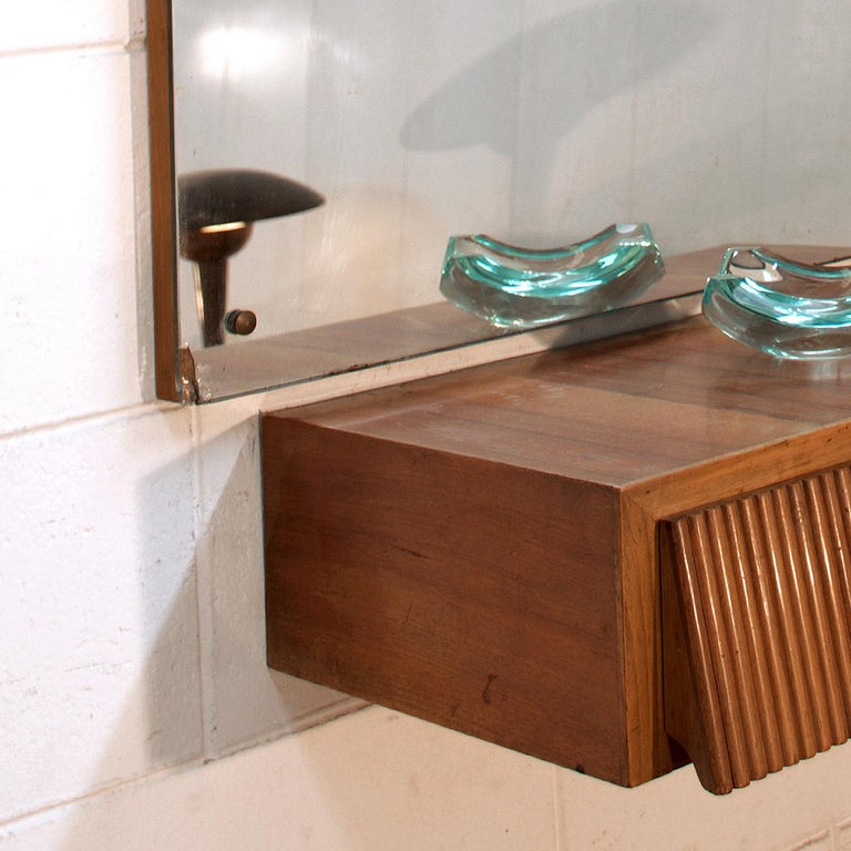 Italian Suspended Consolle Toilette with Mirror by Pierluigi Giordani, 1950s For Sale 7