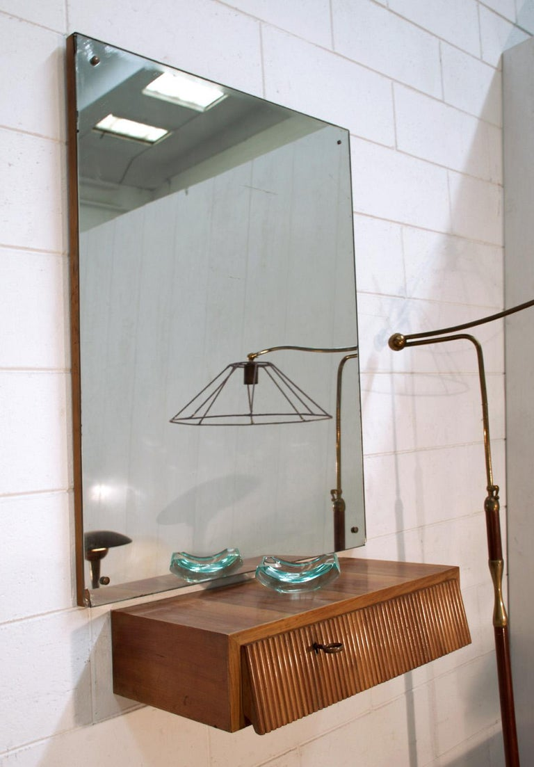 Mid-Century Modern Italian Suspended Consolle Toilette with Mirror by Pierluigi Giordani, 1950s For Sale