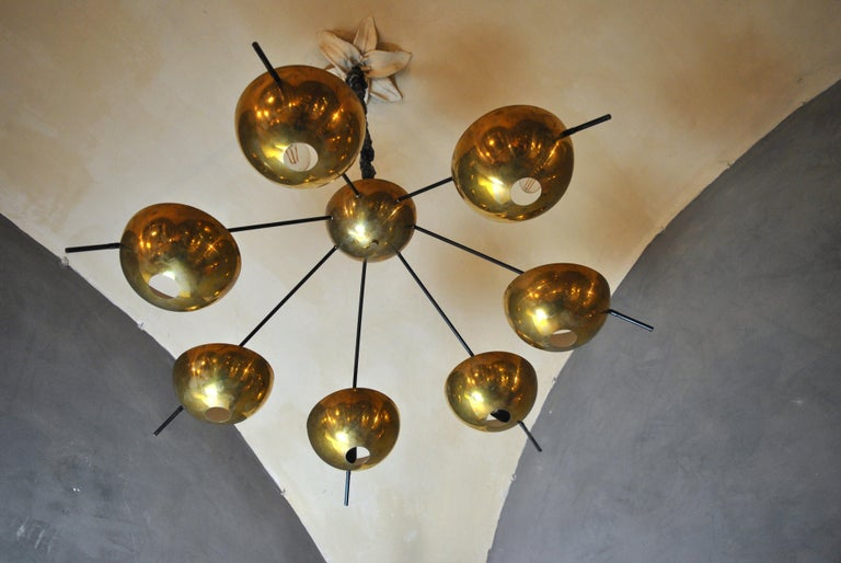 Italian suspension chandelier designed by Cellule Creative Studio for Misia Arte with brass cups and structure in iron and painted aluminum. Recalls the Italian design of the 1950s like Stilux, Arredoluce and Stilnovo. Measures: D 125 cm, H 75 cm,