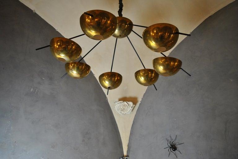 Modern Italian Suspension Chandelier in Brass by Cellule Creative Studio for Misia Arte For Sale