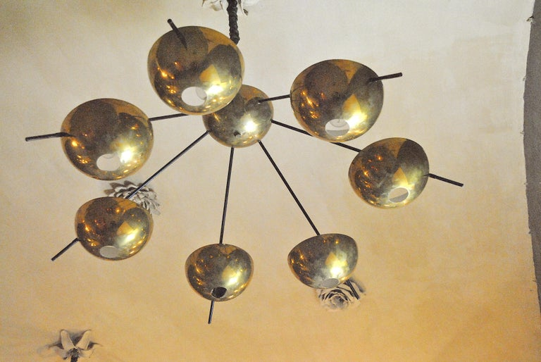 Aluminum Italian Suspension Chandelier in Brass by Cellule Creative Studio for Misia Arte For Sale