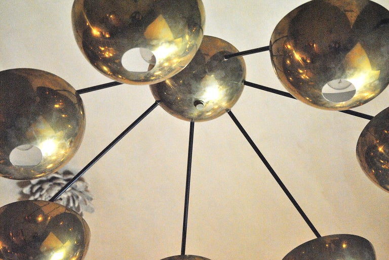 Italian Suspension Chandelier in Brass by Cellule Creative Studio for Misia Arte For Sale 1