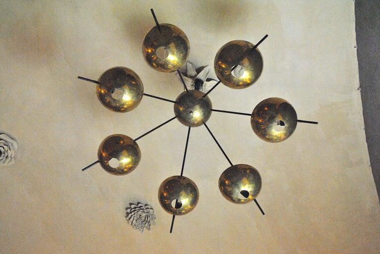 Italian Suspension Chandelier in Brass by Cellule Creative Studio for Misia Arte For Sale 2