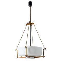 Italian Suspension Light, 1950s, Satin Glass, Brass and Teak