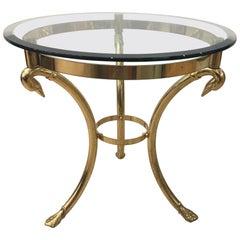 Italian Swan Brass Gueridon / Sidetable in Neoclassical Style