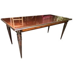 Italian Table from 1960, Original in Walnut, with Turned Leg, Brown Glass Top
