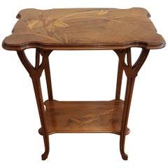 Italian Table Art Deco style in Walnut with Original Inlay Gallè  1960