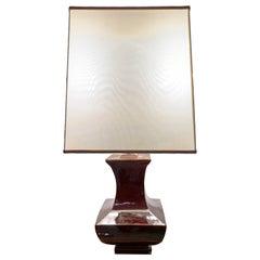 Italian Table Lamp Brown Ceramic Glazed, Italy, 1970s Tommaso Barbi Style