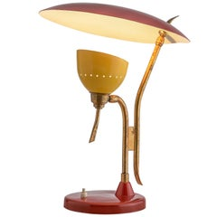 Italian Table Lamp by Lumen in Brass and Red/Yellow Lacquered Metal