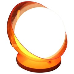 Italian Table Lamp Curved Plexiglass Harvey Guzzini Design 1960s Orange White