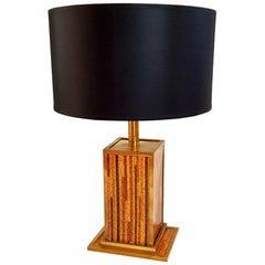 Italian Table Lamp in Cork and Brass, circa 1970
