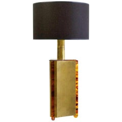 Italian Table Lamp in Faux Tortoise and Brass, 1970s