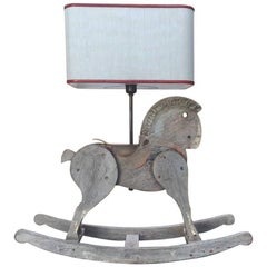 Italian Table Lamp Made with Wooden Horse Children's Toy from 19th Century