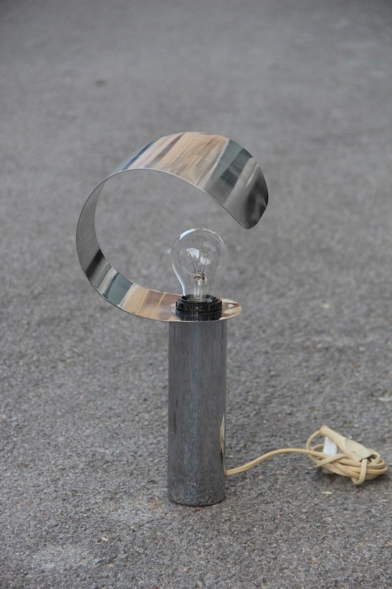 Italian Table Lamp Steel Curved Silver, 1970s For Sale 1