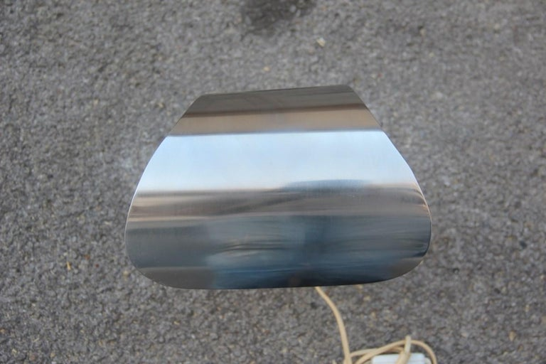 Italian Table Lamp Steel Curved Silver, 1970s For Sale 2