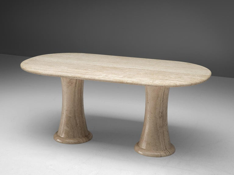 Mid-Century Modern Italian Table with Oval top in Travertine For Sale
