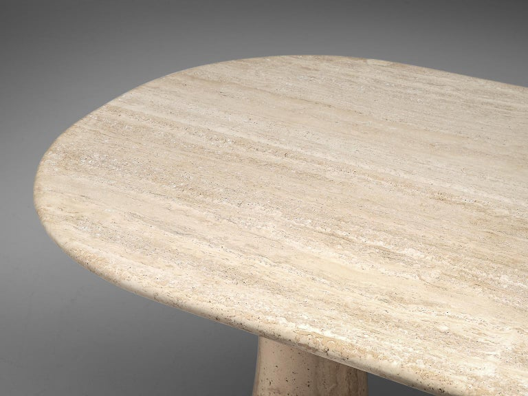 Late 20th Century Italian Table with Oval top in Travertine For Sale