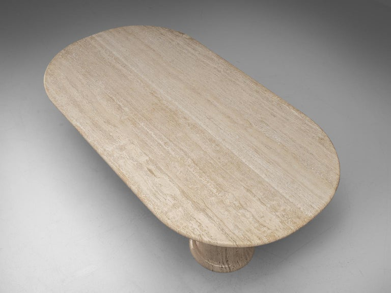 Italian Table with Oval top in Travertine For Sale 2