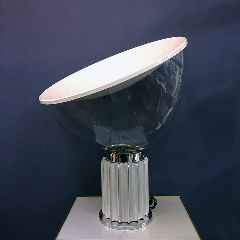 Italian Satin metal Taccia Lamp by Achille and Pier Giacomo Castiglioni for Flos, 1962