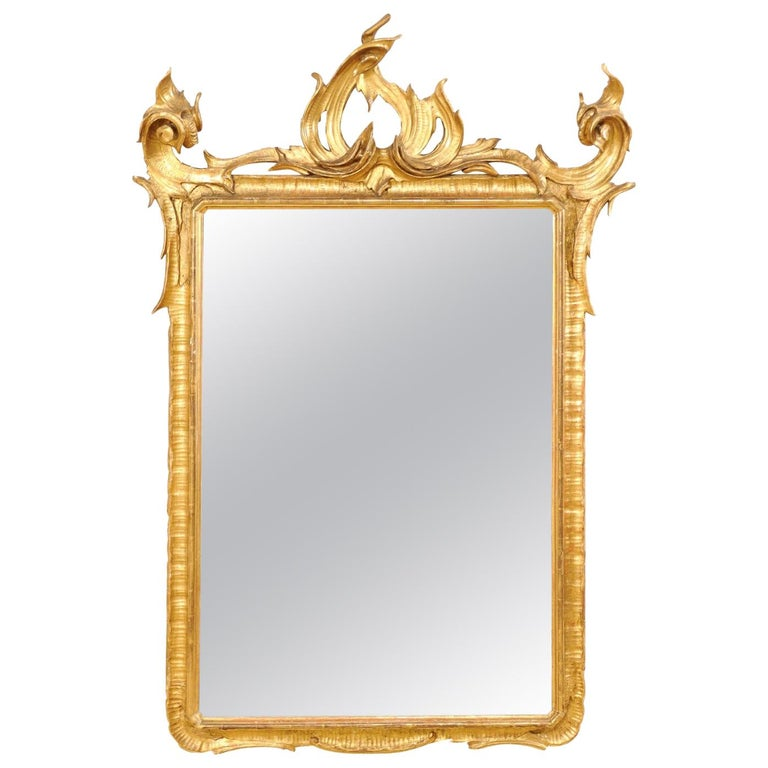 Italian Tall Carved and Giltwood Mirror, Early 20th Century  For Sale