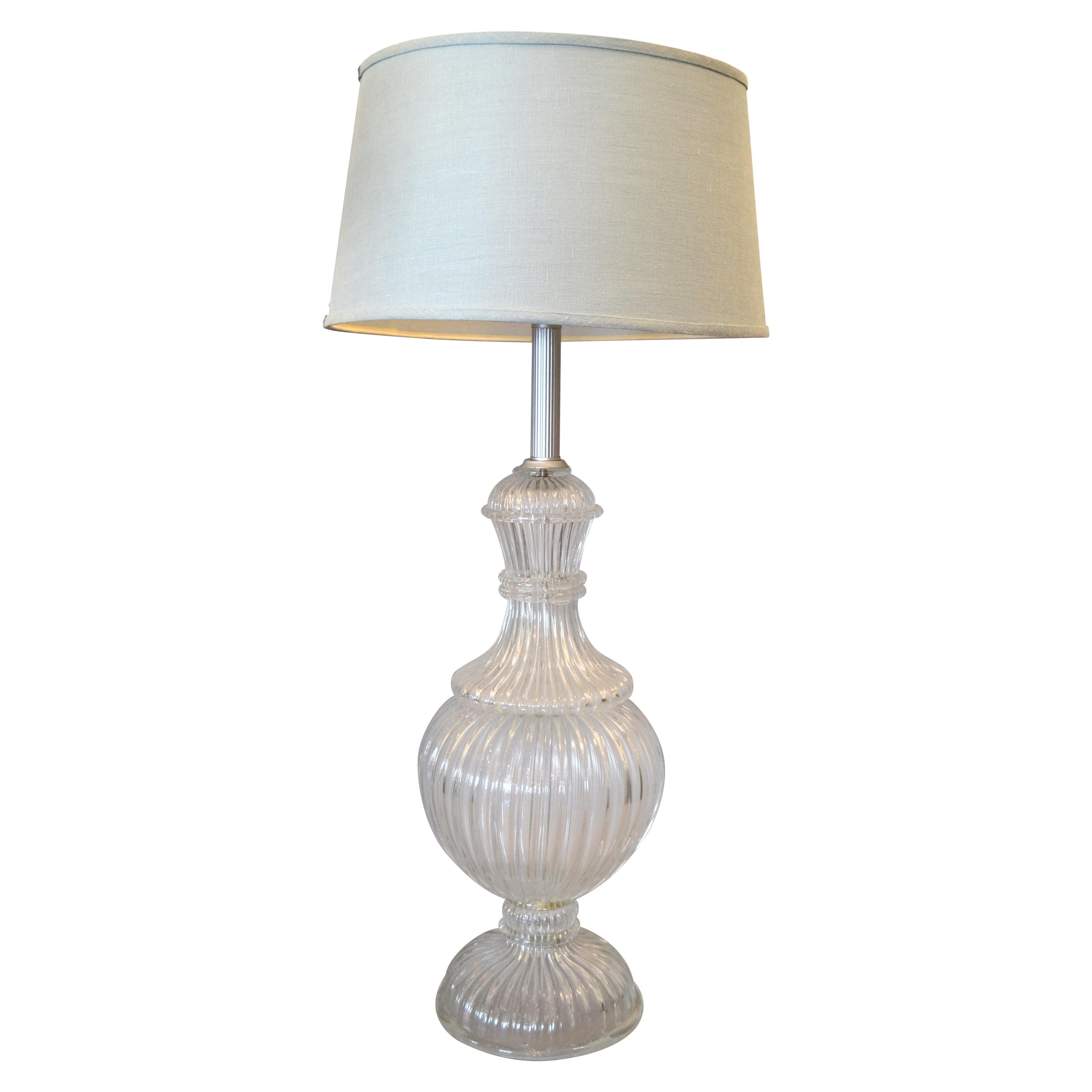 Italian Tall Clear Hand Blown Ribbed Murano Glass and Aluminum Neck Table Lamp