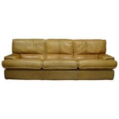 Italian Tan Leather Three-Seat Sofa, circa 1970
