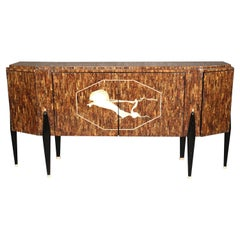 Italian Tasselated Faux Rosewood Mid-Century Modern Style Sideboard Buffet