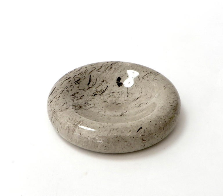 Mid-Century Modern Italian Taupe Brown and Mocha Marble Bowl Vide Poche by Sergio Asti Up & Up For Sale
