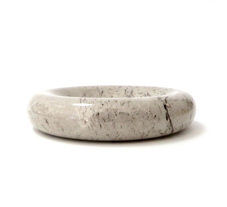 Italian Taupe Brown and Mocha Marble Bowl Vide Poche by Sergio Asti Up & Up For Sale 2