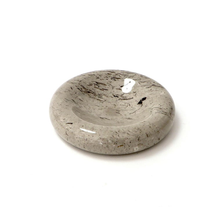 Italian Taupe Brown and Mocha Marble Bowl Vide Poche by Sergio Asti Up & Up For Sale 4
