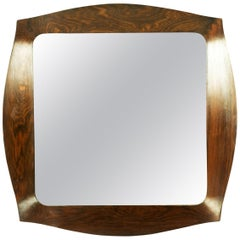 Italian Teak and Silvered Glass 1960s Mirror Savinio by Campo E Graffi for Home