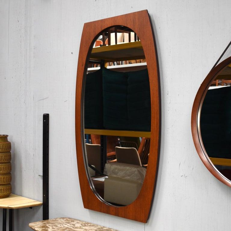Mid-Century Modern Italian Teak Mirror, 1950s For Sale