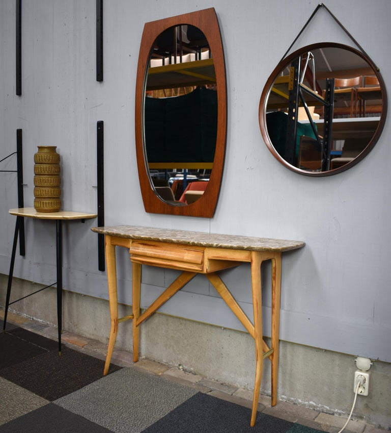 Italian Teak Mirror, 1950s In Good Condition For Sale In Pijnacker, Zuid-Holland