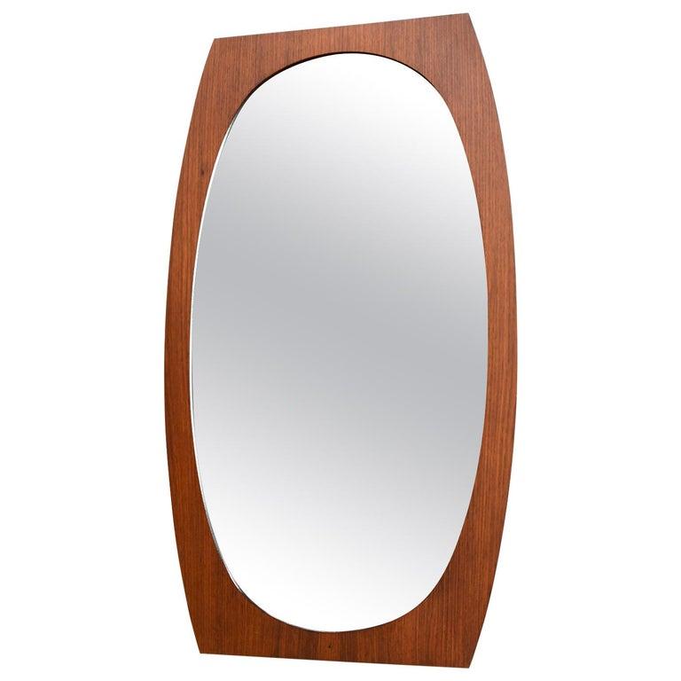 Italian Teak Mirror, 1950s For Sale