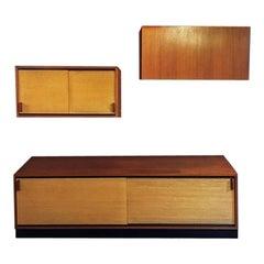 Italian Teak Sideboard with Wall Cabinets, 1960s