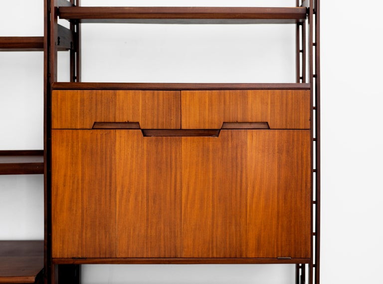 Italian Teak Wall Unit In Good Condition For Sale In Los Angeles, CA