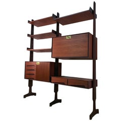 Italian Teak Wood Freestanding Bookcase by Vittorio Dassi with Palutari, 1950s