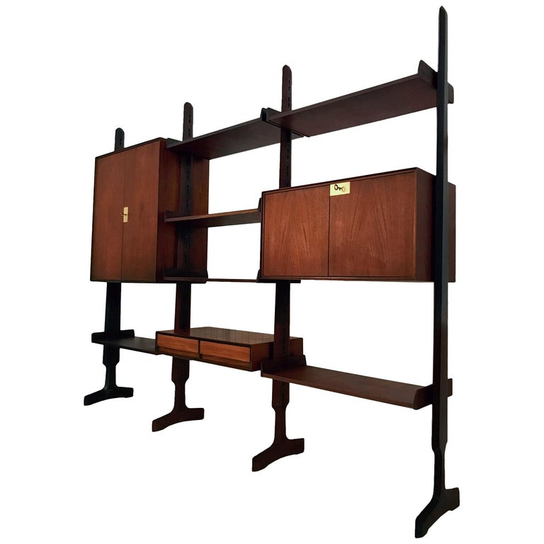 Italian Teak Wood Freestanding Bookcase by Vittorio Dassi with Palutari, 1950s For Sale