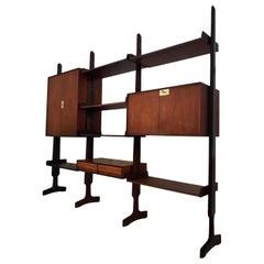 Italian Mid-Century Teak Wood Bookcase Three Modules by Vittorio Dassi, 1950s