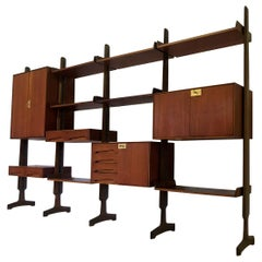 Italian Teak Wood Freestanding Bookcase Four Modules, by Vittorio Dassi, 1950s