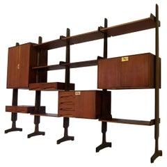 Italian Mid-Century Teak Wood Bookcase Four Modules by Vittorio Dassi, 1950s