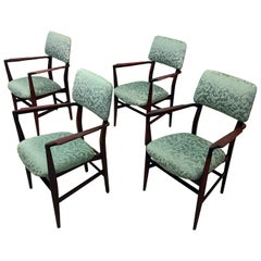 Italian Teakwood and Green Dining Chairs by Vittorio Dassi, Set of 4, 1950s