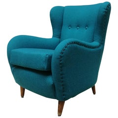Italian Teal-Colored Cotton and Beech Armchair, 1960s