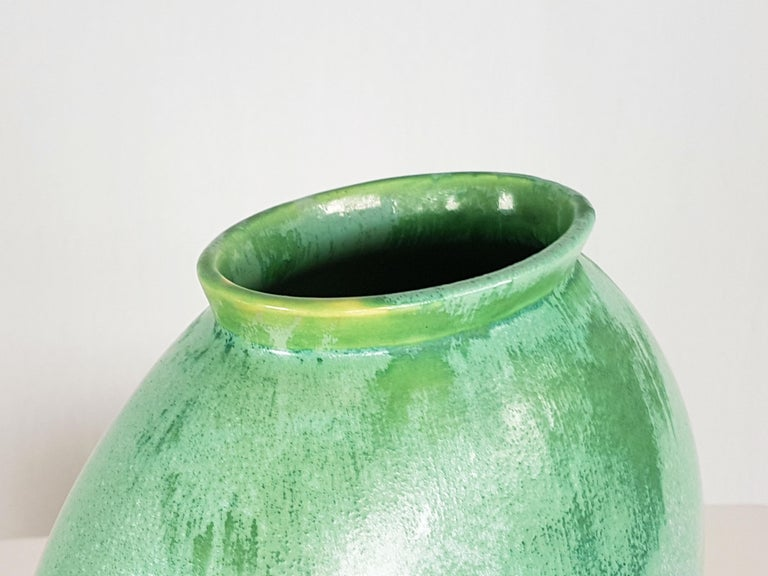 Glazed Italian Teal Green Ceramic 1940s Vase by Guido Andloviz for SCI Laveno For Sale