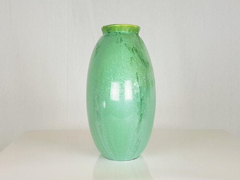 Italian Teal Green Ceramic 1940s Vase by Guido Andloviz for SCI Laveno In Good Condition For Sale In Varese, Lombardia