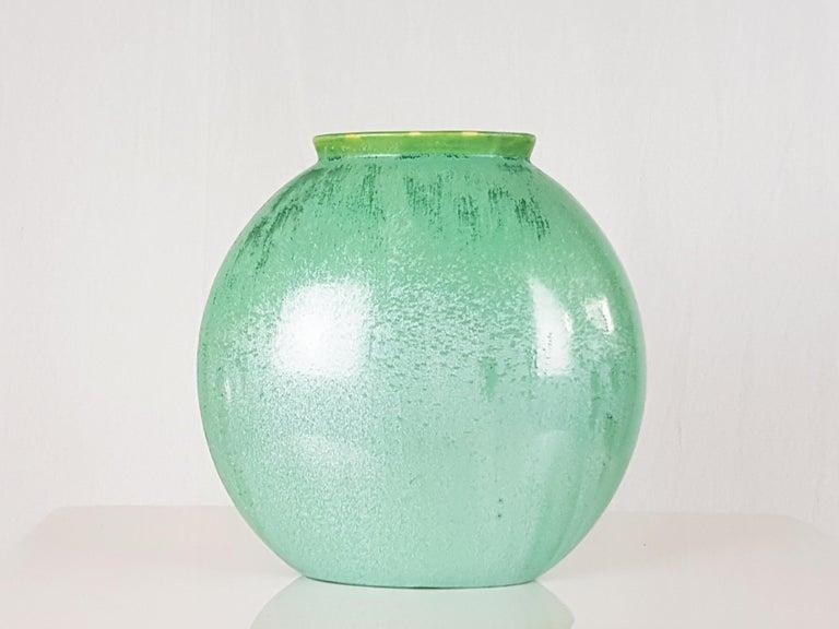 Mid-20th Century Italian Teal Green Ceramic 1940s Vase by Guido Andloviz for SCI Laveno For Sale