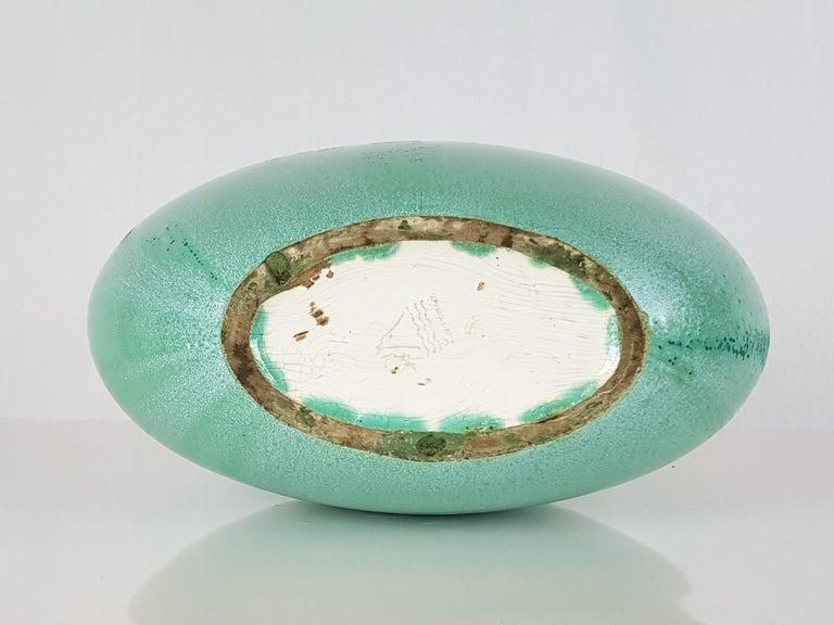 Italian Teal Green Ceramic 1940s Vase by Guido Andloviz for SCI Laveno For Sale 3